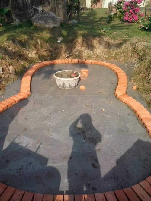 屏東噴水池泥作工程-砌磚工程